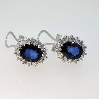 18 quilates Oro blanco - Pendientes - 3.28 ct Zafiro - Diamantes