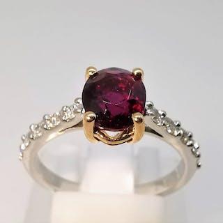18 kt. Bicolour - Ring - 1.48 ct Tourmaline - Diamond