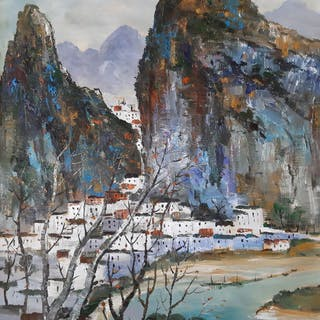 Oil painting - Canvas - 《吴冠中-桂林景色》Made after Wu GuanZhong - China - 21st century