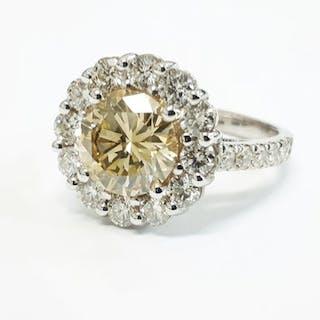 18 kt. White gold - Ring - 3.51 ct Diamond