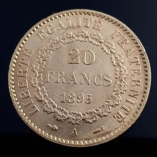 France - 20 Francs 1895 A Genius - Gold