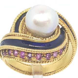 18 kt. Akoya pearl, Yellow gold, 8.5 mm - Ring - 0.10 ct Diamond - Pearls, Ruby