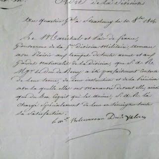 Maréchal Kellermann, Duc de Valmy - Autograph; Ordre de la division  - 1814
