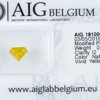 Diamond - 0.51 ct - Natural Fancy VIVID Yellow - I2*NO RESERVE*