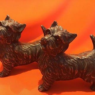 Statuetta/e, Due cani di bronzo Scottish terrier