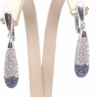 18 kt. White gold - Earrings - 2.40 ct Sapphire - Diamond