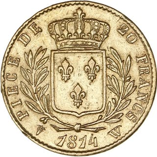 France - 20 Francs1814-W Louis XVIII - Gold