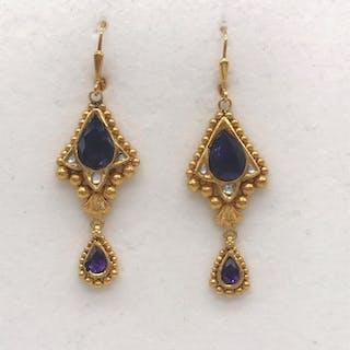 21.6 carati Oro, Oro giallo - Orecchini - 3.50 ct Ametista - Diamanti