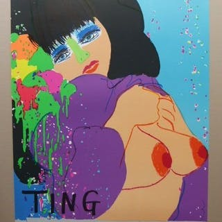"""Walasse Ting - affiche lithographiée """" Bleue """" état neuf - 1974"""