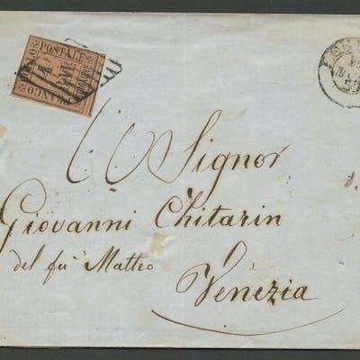 Romagne 1859 - 4 baj fulvo su lettera da Ferrara per Venezia  - Sassone N. 5