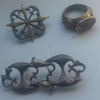 Ancient Roman Silver Gild Brooches (2)