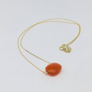 18 kt Gelbgold - Halskette - 5.35 ct Karneol