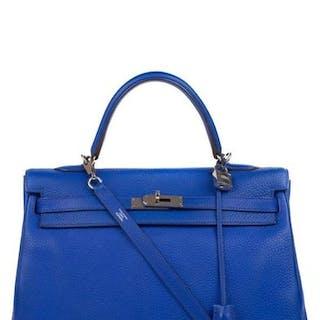 Hermès - Kelly 35 bleu électrique, accastillage palladié Crossbody bag