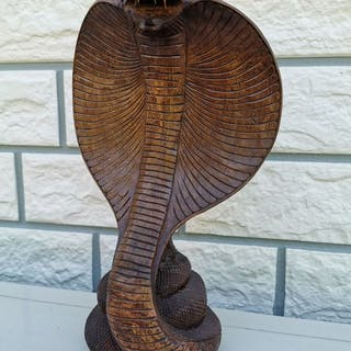 Holzskulptur, Cobra Schlange (1) - Holz - 20. Jahrhundert