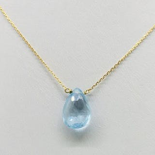 18 kt Gelbgold - Halskette - 3.25 ct Blauer Topas