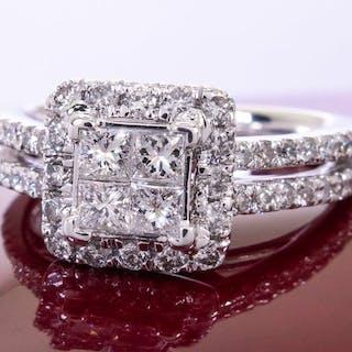14K Gold - 1.20ct - diamond entourage quad ring.