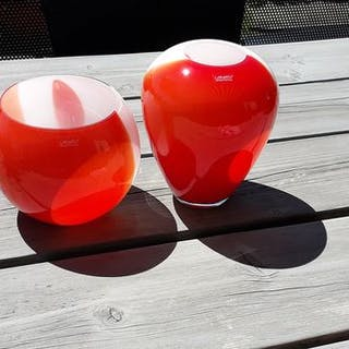 Loranto Glas - 2 mundgeblasene Glaskunstvasen Rot / Weiß - Glas