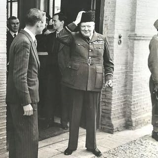 Unknown/British Official Photograph- Winston Churchill and his Persian lamb hat