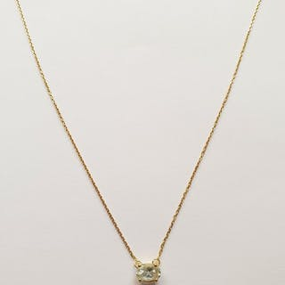 18 carats Or jaune - Collier aigue marine