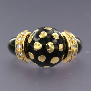 18 kt. Yellow gold, black enamel - Ring - 0.15 ct Diamond