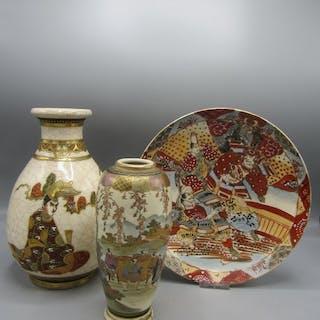 Satsuma Vasen en Dish (3) - Töpferware - Japan - ca. 1930-1950