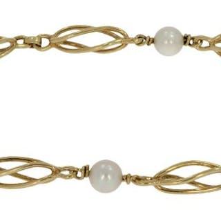 Vintage - 14 kt. Gold - Bracelet Pearl