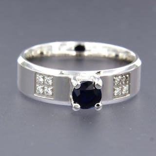14 kt. White gold - Ring - 0.60 ct Sapphire - Diamond
