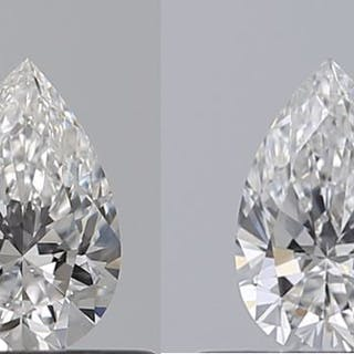 2 pcs Diamonds - 0.68 ct - Pear - D (colourless) - VVS1, VVS2