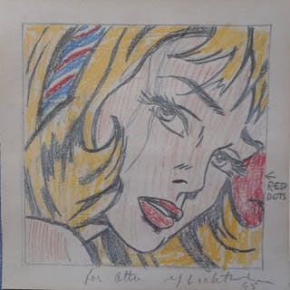 Roy Lichtenstein - Girl with Hair Ribbon (drawing reproduction)