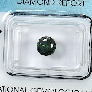 Diamond - 1.15 ct - Brilliant - Fancy Deep Green - I1