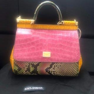 Dolce & Gabbana - Crocodile Python Calfskin Sicily Schultertasche