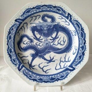 Assiettes - Bleu et blanc - Porcelaine - Dragon - Chine - XIXe siècle