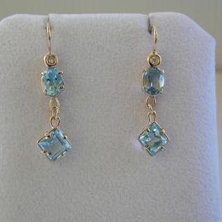 14 quilates Oro amarillo - Pendientes - 0.05 ct Diamante - Topacios azules