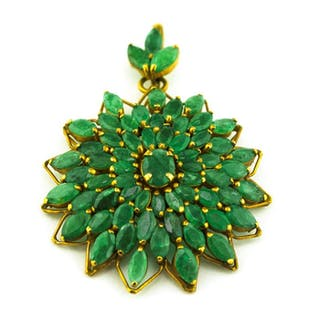 Luxury Handmade Antique - 14 kt. Yellow gold - Brooch, Pendant Emerald