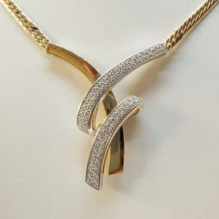 18 kt. Yellow gold - Necklace - 1.40 ct Diamond