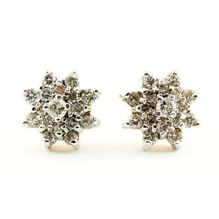 18 kt. Yellow gold - Star-shaped antique earrings with 34...