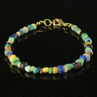 Ancient Roman Glass Bracelet with multicoloured glass beads - 20 cm - (1)