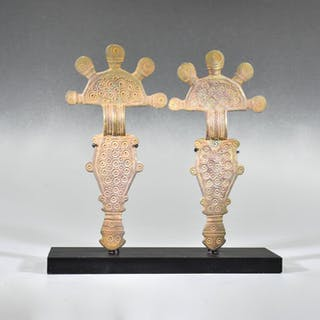 Medieval Bronze Pair of Gothic Radiate-Headed Brooches on Stand