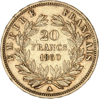 France - 20 Francs1860-A Napoléon III - Gold