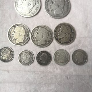 Frankreich - Lot of 10 coins (20 Centimes to 2 Francs)...