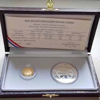 Croatia - 200 + 500 Kuna 1996 'University of Zadar' (2 coins) in set - Gold