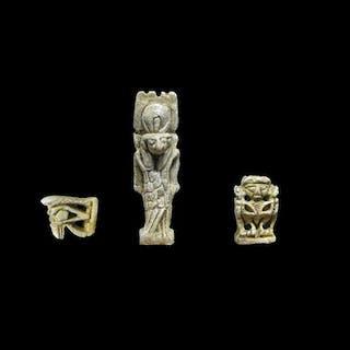 Altägyptisch Speckstein Amulett des Gottes Montu + Pataikos und Wedjat