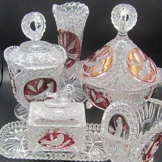 Hofbauer - 6 böhmische Gegenstände inklusive Deckeltöpfen - Glas