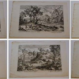 Dominique Barrière (c.1622–1678) - complete set of six Roman landscapes