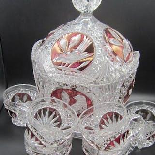 Hofbauer - Schönes böhmisches 7-teiliges Schüsselset - Glas