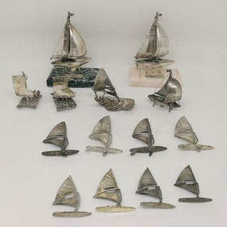 Fantastic Group of Miniature Boats (14) - .800 silver - Italy - mid 20th century