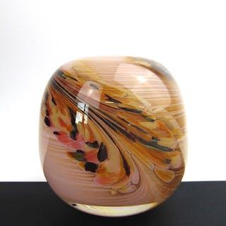 Maxence Parot  - Vase unique opaline rose Plumage  - Verre