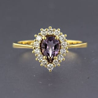 14 kt. Yellow gold - Ring - 0.32 ct Diamond - Amethyst