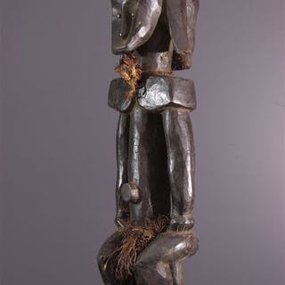 Fang statue with two faces 72 cm - Wood, Raffia, Brass Eye, Rope - Gabon