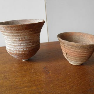 Ancient Levantine Terracotta Cups (possibly Nabatean?) - 7×7.5×7.5 cm